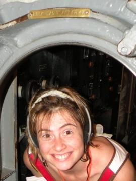 Joanna ducking through a Bowfin Bulkhead